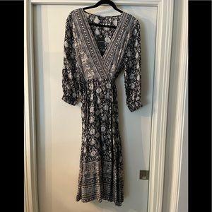 Lucky Brand Black, Gray & White Wrap Floral Dress
